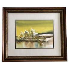 John L Mendoza, Watercolor Oil Painting Rural Landscape