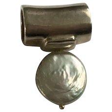 Sliding Silver-Tone Pendant with an Enamel Faux Pearl