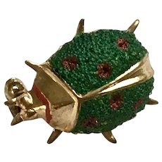 Little Green and Red Beetle Bug Brooch Pin