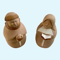 Monk and Nun Terracotta Figurines
