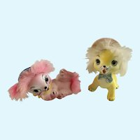 Vintage Anthropomorphic Puppy Dogs Fur Figurines Japan