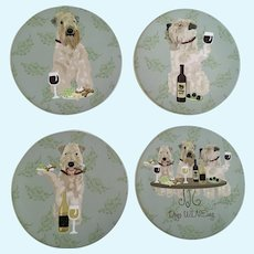 Terrier Dog Ceramic Wine Coasters
