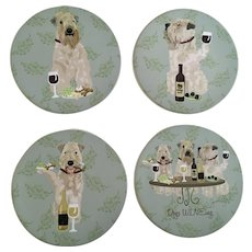 Terrier Dog Ceramic Wine Coasters