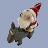 Santa on Donkey Vintage Erzgebirge German Wooden Ornament