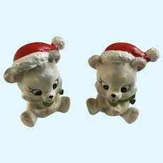 Christmas Bears Eating Suckers Vintage Lefton Figurines X-H7974