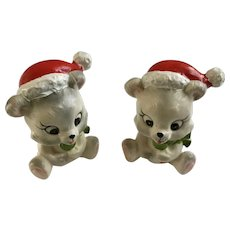 Christmas Bears Eating Suckers Vintage Lefton Figurines X-H7974