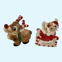 Kreiss Candy Cane Santa Sleigh and Reindeer Salt and Pepper Shaker Japan