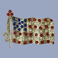Patriotic American Flag USA Red White & Blue Silver-tone Pin Brooch