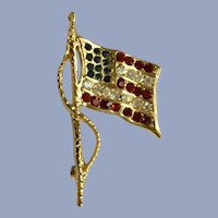 Patriotic American Flag USA Red White & Blue Gold-tone Pin Brooch