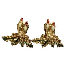 Christmas Candle Gold-tone Clip on Earrings