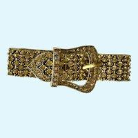Belt Buckle Bracelet Gold-tone Sparkle Rhinestone Aurora Borealis