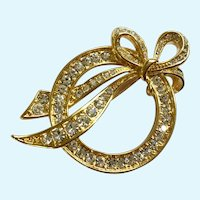 Vintage Nolan Miller Gold-tone Bow Circle Faux Diamond Rhinestones Brooch Pin