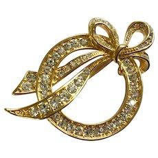 Vintage Nolan Miller Gold-tone Bow Circle Faux Diamond Rhinestones Brooch Pin