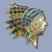 Indian Chief Silver-tone Sparkle Multi-Colored Rhinestones Pin