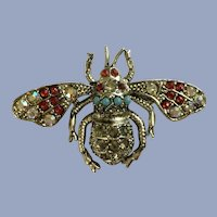 Beautiful Rhinestone Bumble Bee Aurora Borealis Silver-tone Pin Brooch
