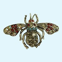 Beautiful Rhinestone Bumble Bee Aurora Borealis Silver-tone Pin Brooch