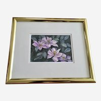 E Sanders, Purple Tropical Flowers Watercolor Painting