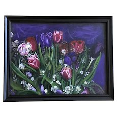 Juan E Sladinger, Pink and Purple Tulips Acrylic Painting