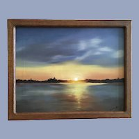 Betty Priest, Florida Sunrise on the Water Oil Painting
