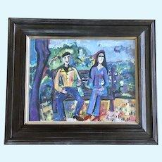 Paulette Brodeur, Eccentric People Mixed Media Painting Colorado Artist