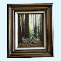 Hillis, Redwood Tree Forest Landscape Oil Painting