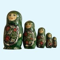 Wood Matryoshka Nesting Dolls Hand Painted Signed By Artist