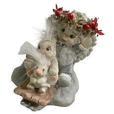 Dreamsicles Cast Art Angel & Bunnies Christmas Stocking Holder Figurine