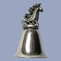 Silver-Tone Christmas Bell Pewter Sleigh for Santa Claus