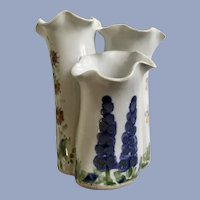 Hand Painted Flower Three Segment Vase Signed By Artist