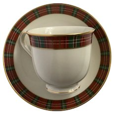 Lenox Winter Greetings Cup and Saucer Plaid Discontinued 2014 - 2018