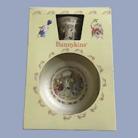 Bunnykins Childs Christening Mug Cup and Plate Royal Doulton 1988