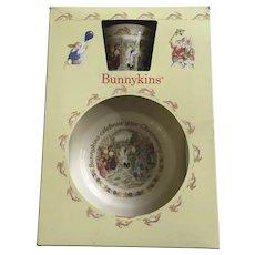 Bunnykins Childs Christening Mug Cup and Plate Royal Doulton 1988