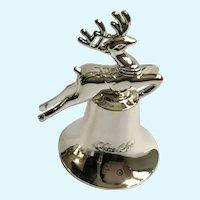 Lorie Line Vintage Silver Christmas Bell Dept. 56 Reindeer