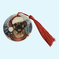 Christmas Puggle Dog Tamara Bernett Ornament 2012