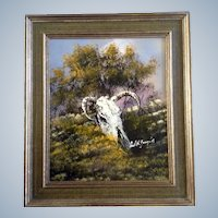 Cecil R Young Jr. (1928-1998) Steer Skull Oil Painting Signed By Texas Artist