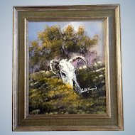 Cecil R Young Jr. (1928-1998) Steer Skull Western Oil Painting on Board Signed By Texas Artist