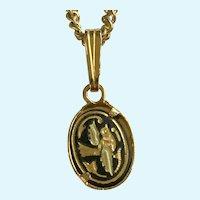 "Small Damascene Bird Pendant Necklace 19-3/4"" Long"