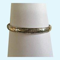 Silver-Tone Bangle Bracelet with Gold-Tone Segments