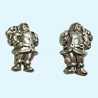 Silver-Tone Santa Claus Clip-On Earrings