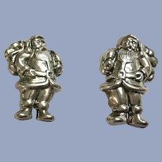 Silver-Tone Santa Claus Clip-On Earrings