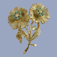 BSK Flowers Gold-tone Aurora Borealis Pin Brooch