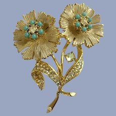 BSK Flowers Gold-tone Aurora Borealis Pin Brooch