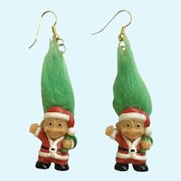 Vintage Troll Santa Claus Dangle Pierced Earrings Russ