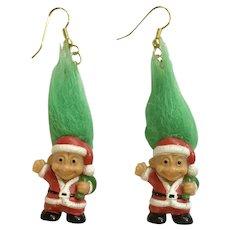 Vintage Troll Santa Claus Dangle Pierced Earrings Russ