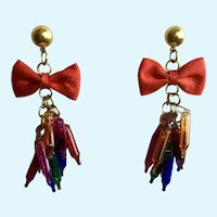 Vintage Christmas Tree Bulb Pierced Earrings