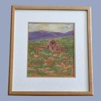 J Helgeson, Southwestern Adobe Church Oil Pastel Painting