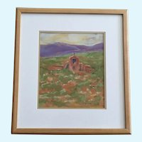 J Helgeson, Southwestern Adobe Church Oil Pastel Painting