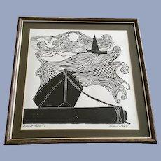 Rocco Negri, Artist Proof Woodblock Print Ship at Mooring