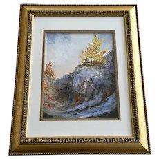 Celeste H, Autumn Trees at Canyon Edge Oil Painting