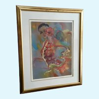 Nancy Stage Robinson Bailadora Dancer Mixed Media Painting Listed Colorado Artist